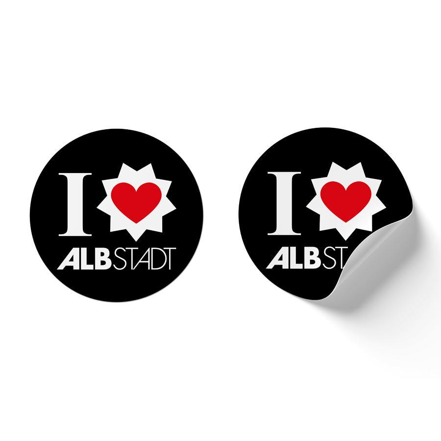 """Aufkleber mit Logo von AlbstadtLiebe und """"I love Albstadt"""""""