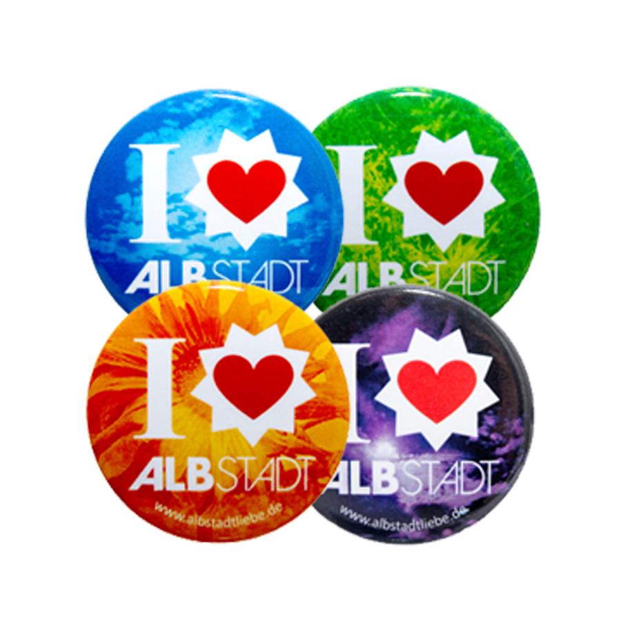 """Bunte Magnete mit Logo und """"I love Albstadt"""""""