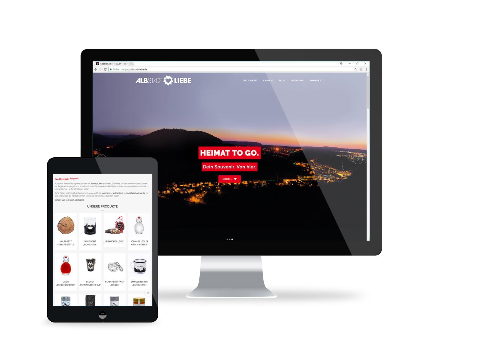 Ansicht der Website von AlbstadtLiebe auf verschiedenen Displays