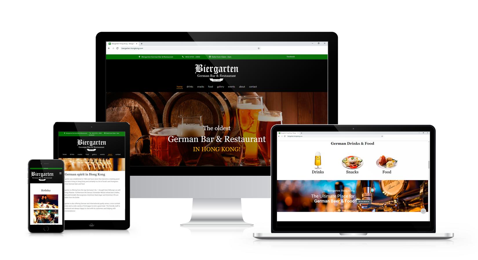 Website Biergarten Hongkong auf verschiedenen Displays