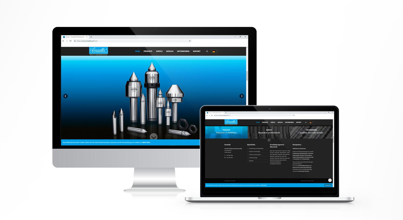 Website von Conzella auf verschiedenen Displays