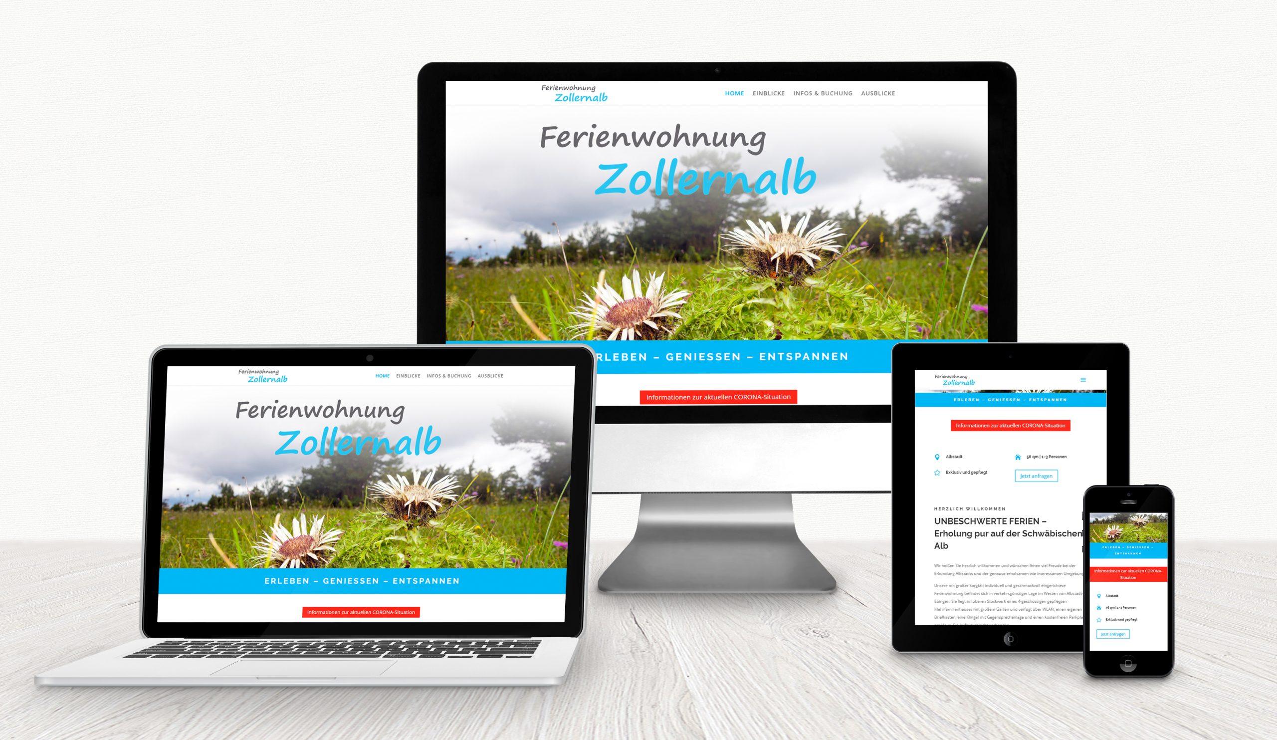 Website Ferienwohnung Zollernalb auf verschiedenen Displays