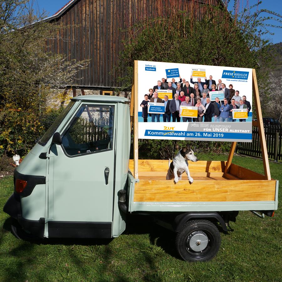 Wahlmobil (Ape) der Freien Wähler Albstadt
