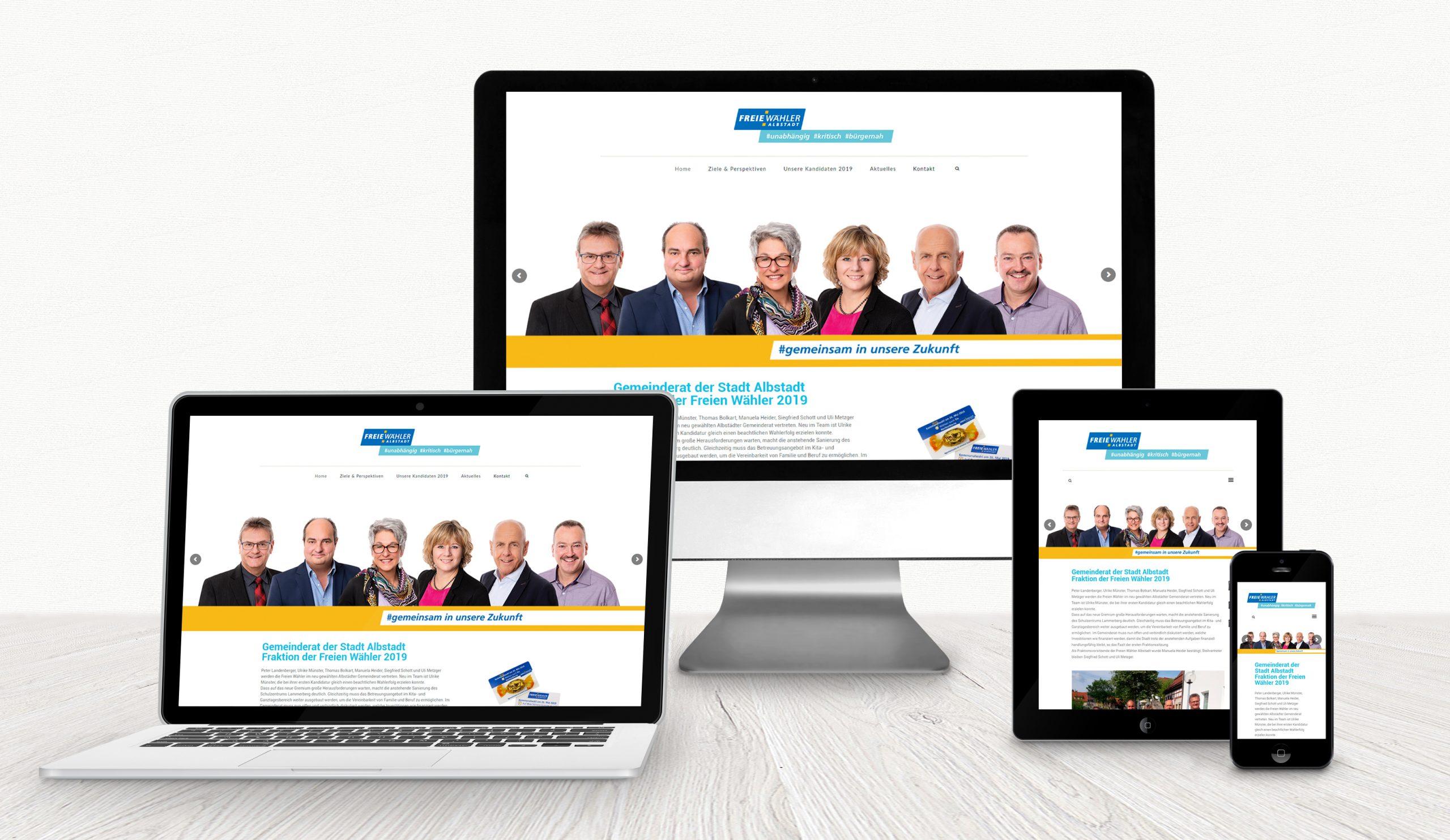 Website der Freien Wähler Albstadt auf verschiedenen Displays