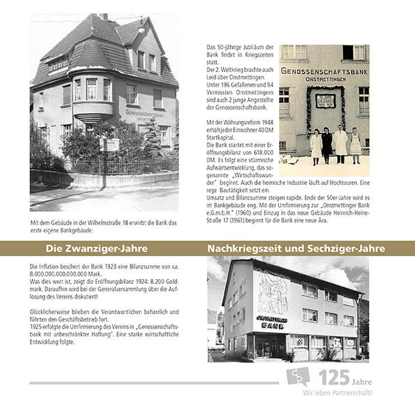 Einzelseitenansicht Jubiläumsbroschüre der Onstmettinger Bank