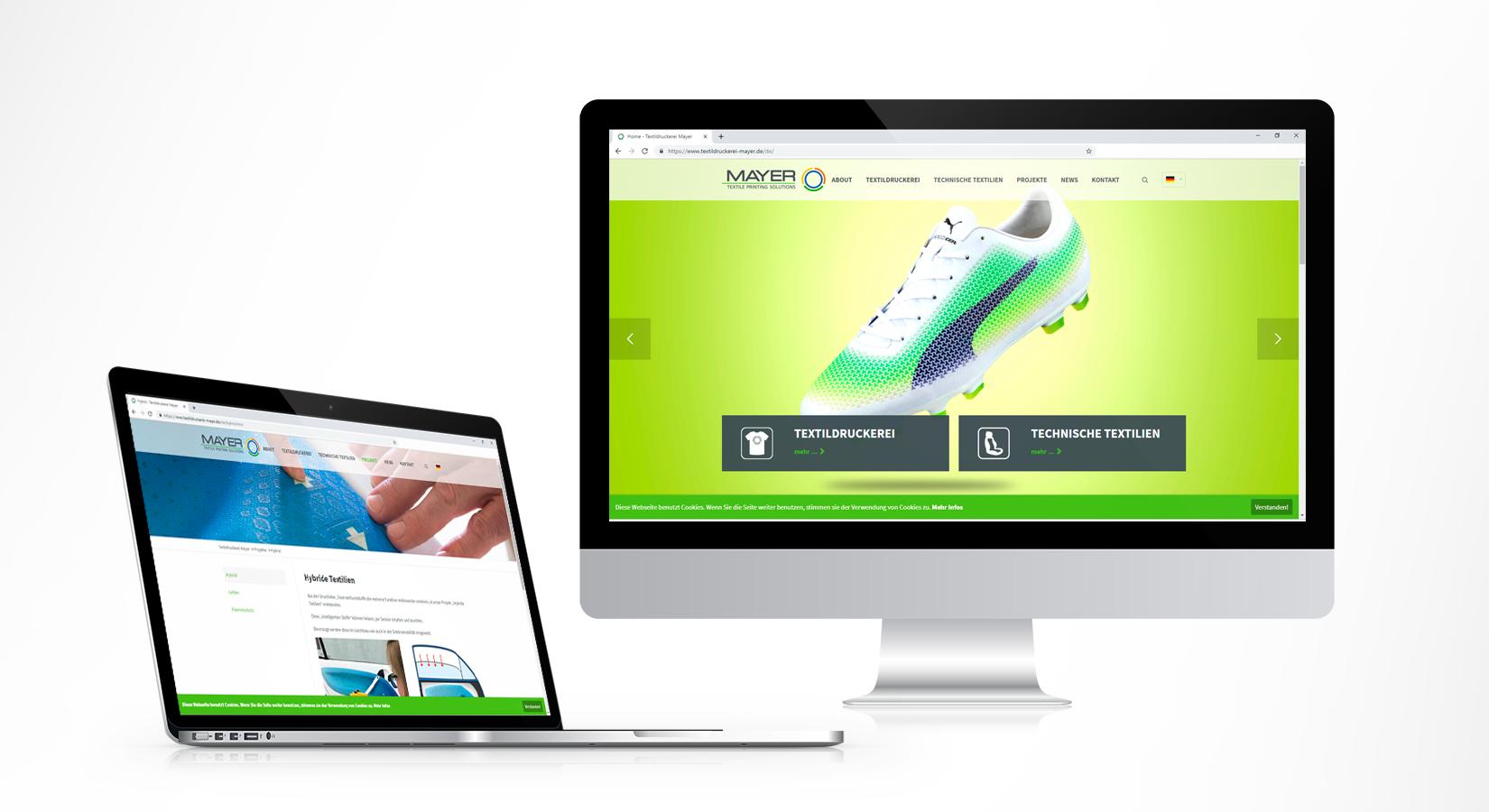 Ansicht der Website der Textildruckerei Mayer auf verschiedenen Displays