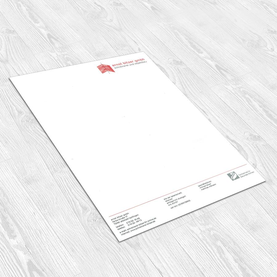 Briefbogen Schreinerei Bitzer