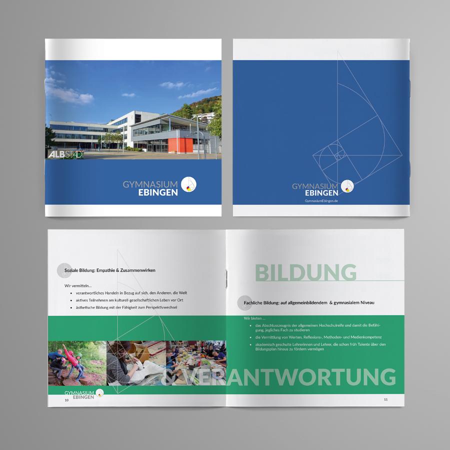 Titel, Rückseite und Innenseite der Leitbildbroschüre des Gymnasiums Ebingen
