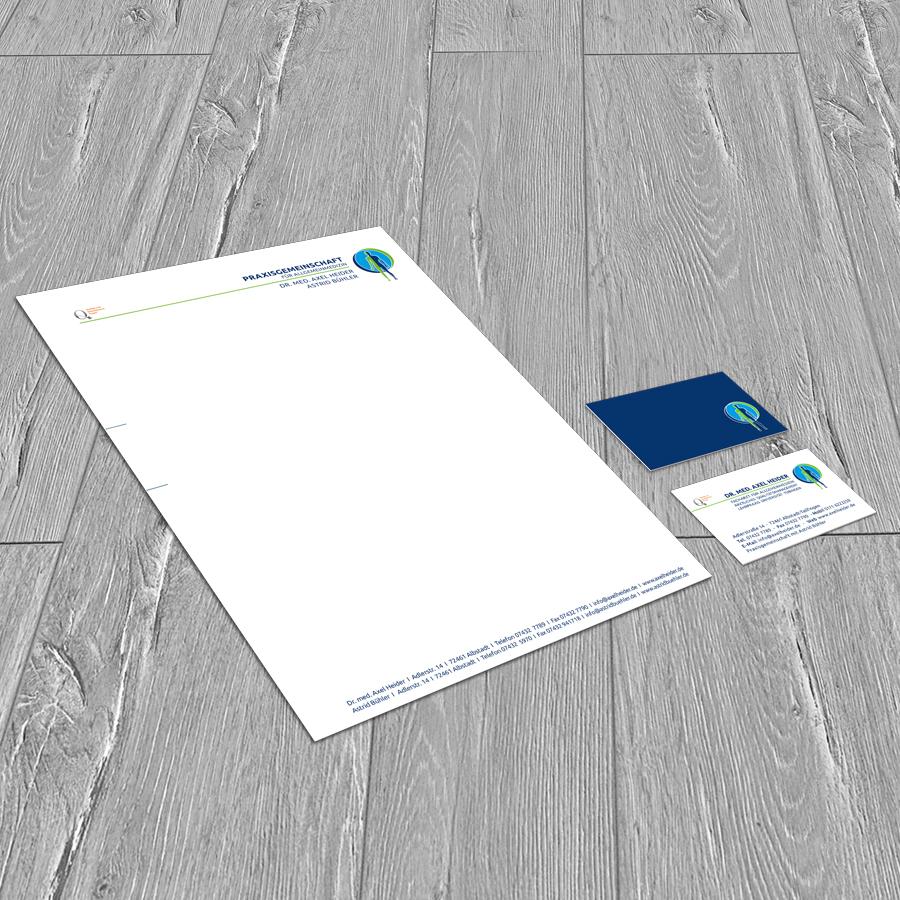 Briefbogen und Visitenkarte Praxisgemeinschaft Heider–Bühler
