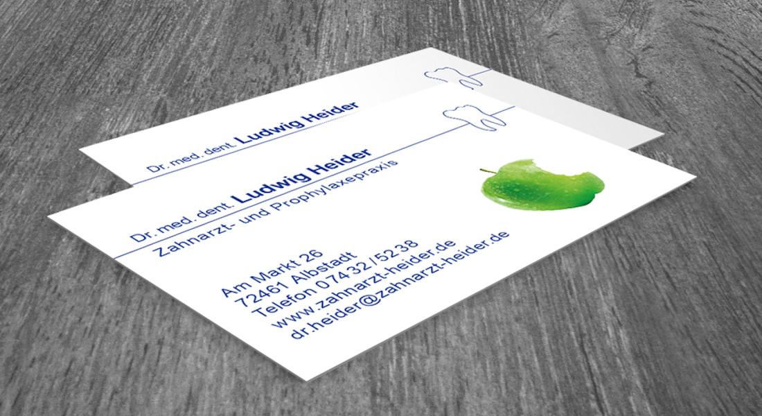 Visitenkarte der Zahnarztpraxis Ludwig Heider