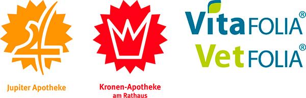 Logos von Jupiter Apotheke, Kronen-Apotheke und Vitafolia