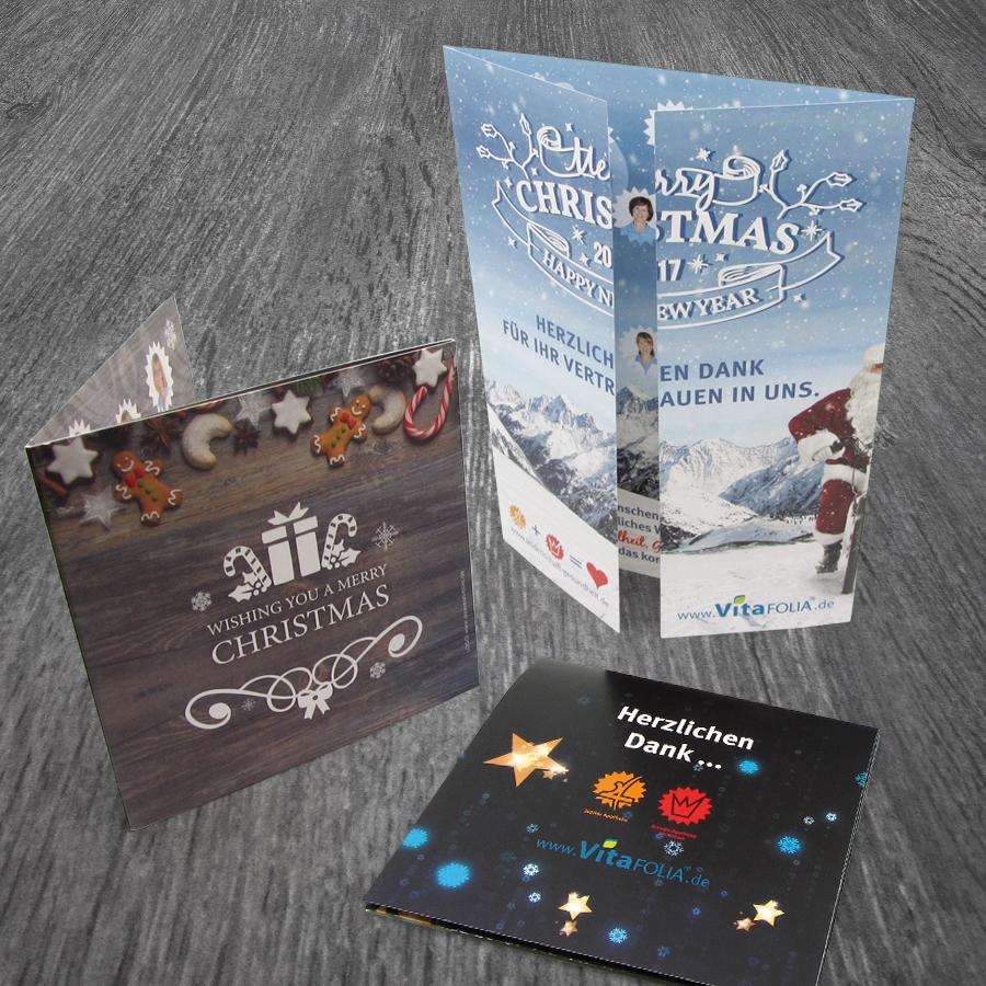 Drei verschiedene Weihnachtskarten für die Hepp Apotheken