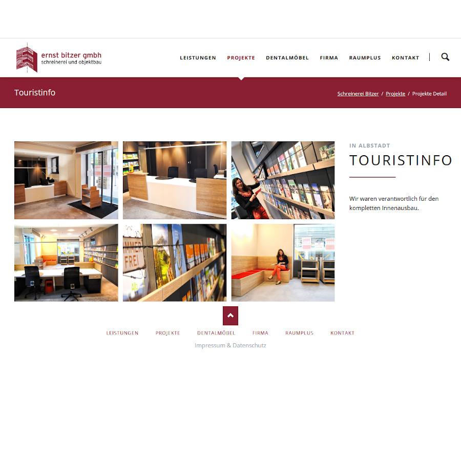 Seitenansicht mit Darstellung des Projekts Touristinfo