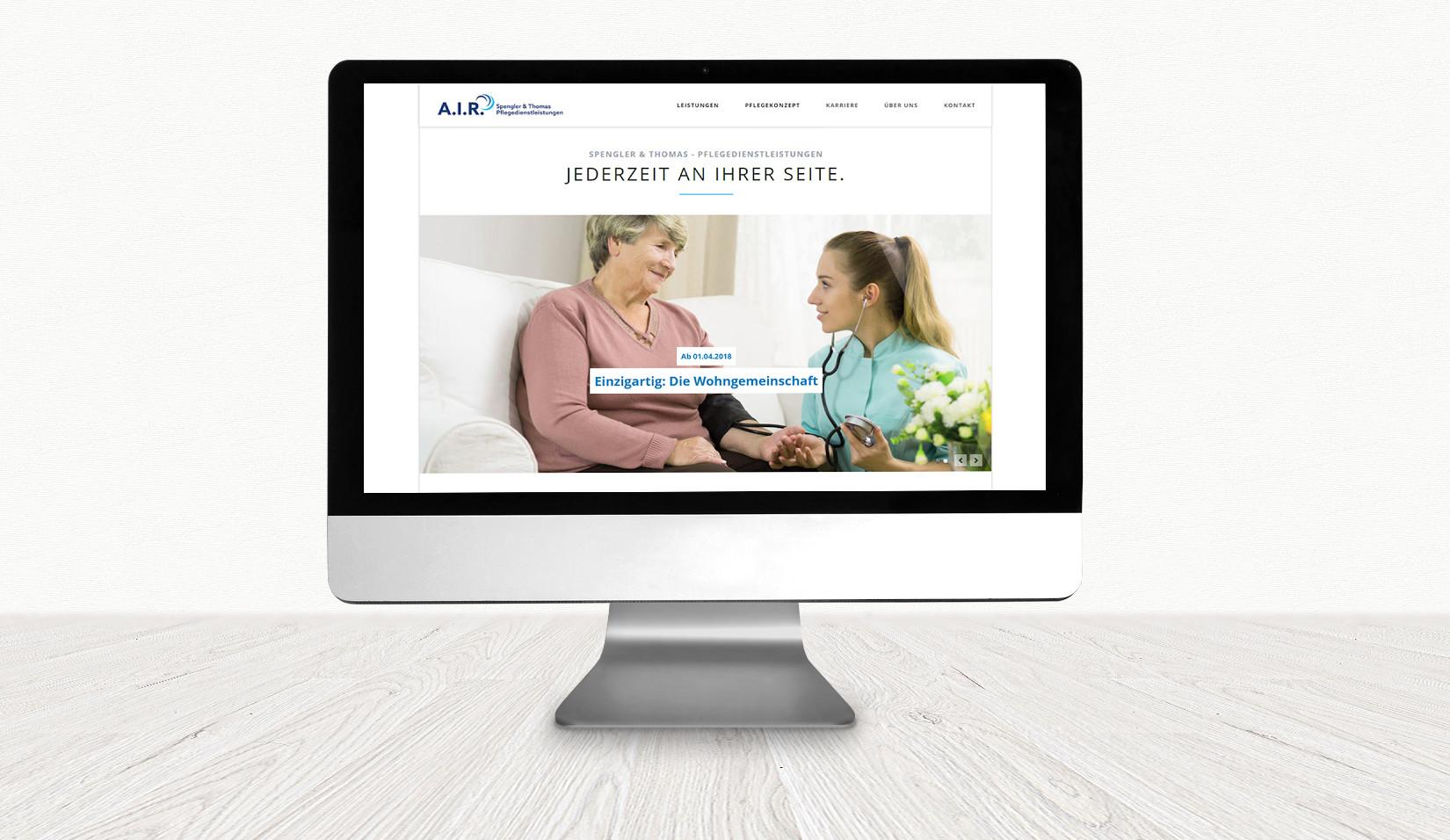 Website von A.I.R. Spengler & Thomas – Pflegedienstleistungen