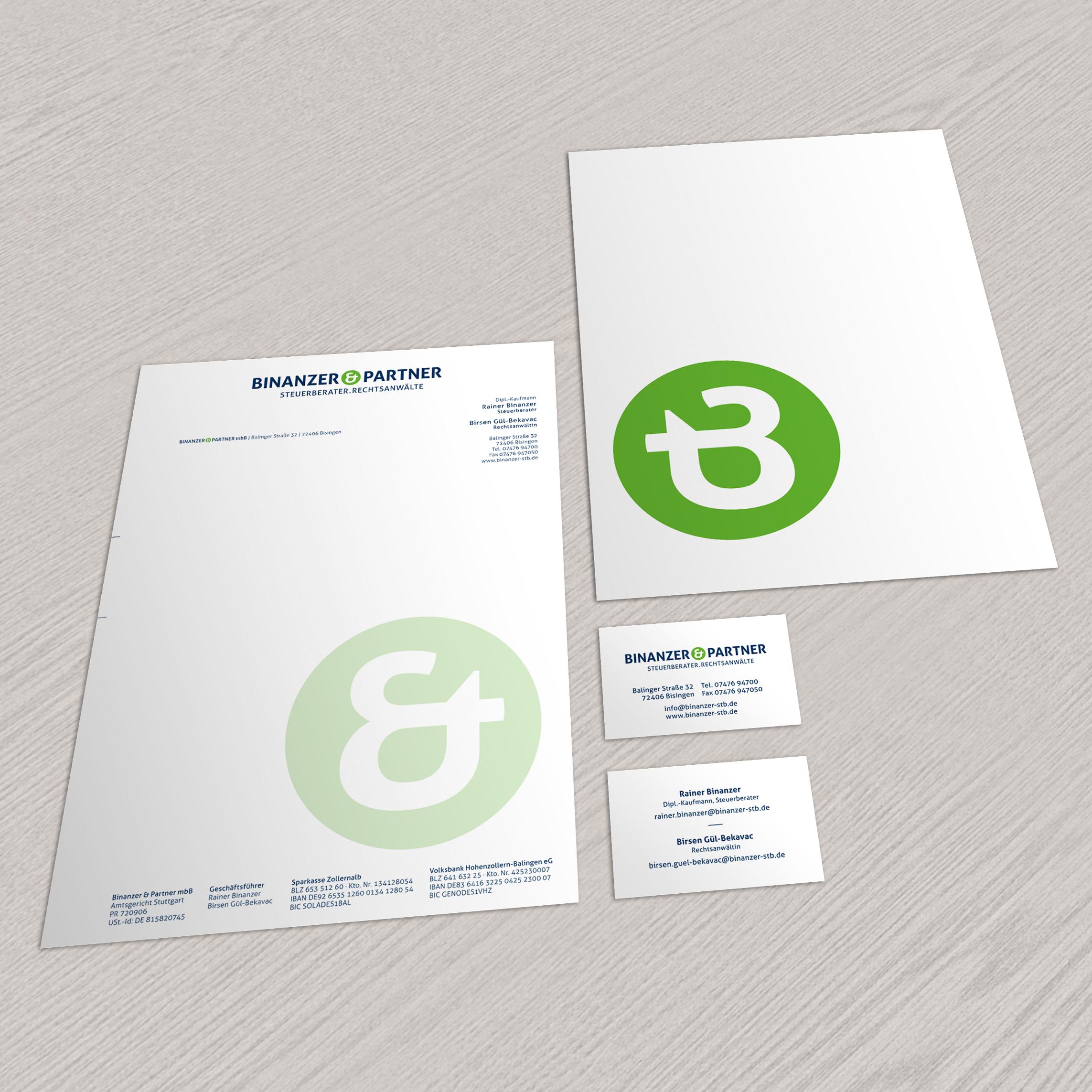 Visitenkarten und Briefbogen für Binanzer & Partner