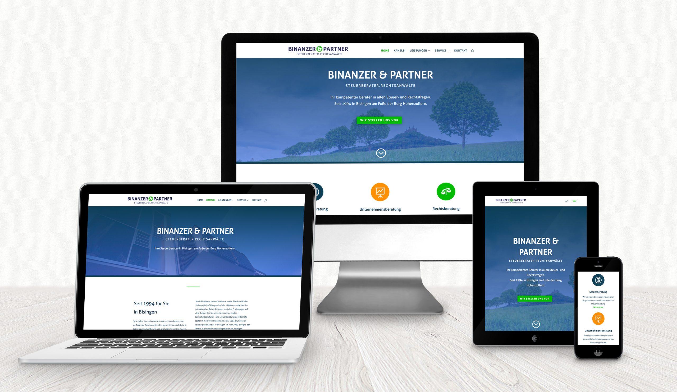 Website der Steuerberatungskanzlei Binanzer & Partner auf verschiedenen Displays