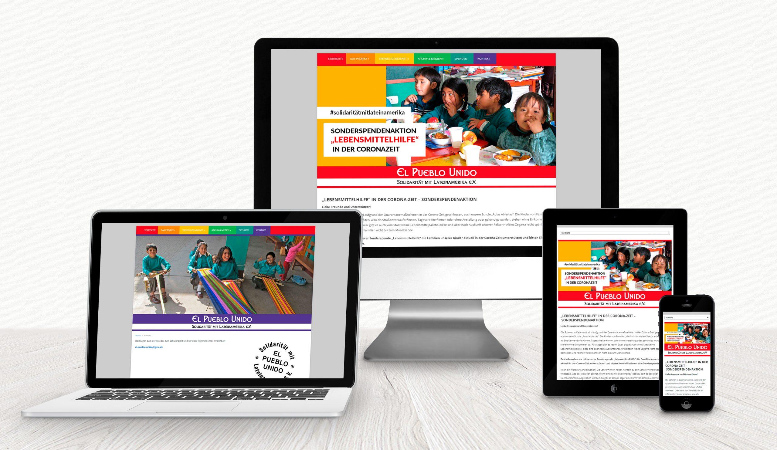 """Website für das Schulprojekt """"El Pueblo Unido"""""""