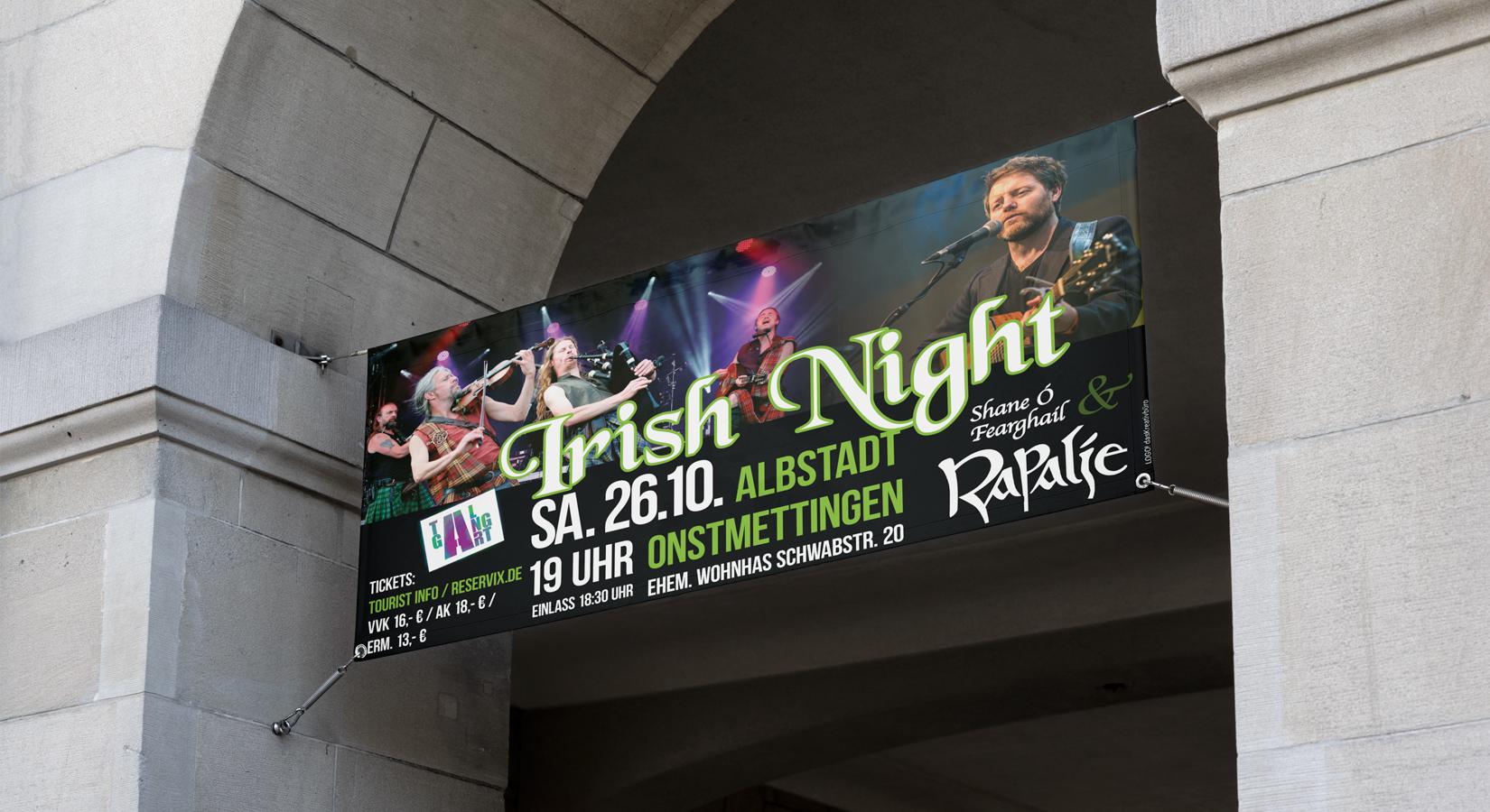 Banner für die Irish Night von Tal-Gang-Art e.V.