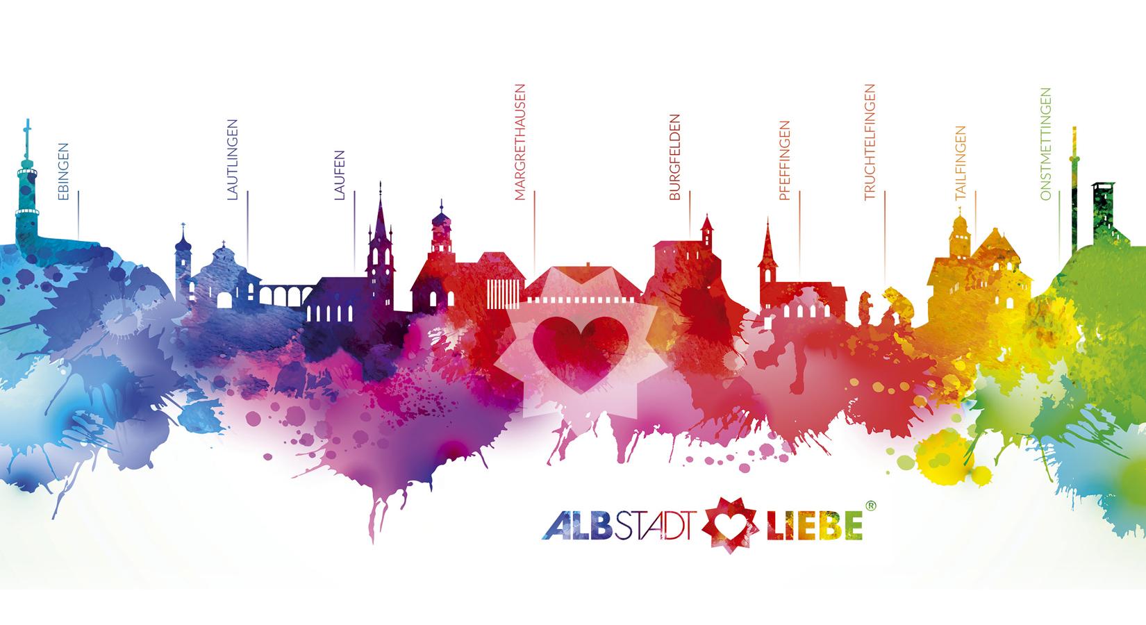 Bunte Splash-Silhouette von Albstadt