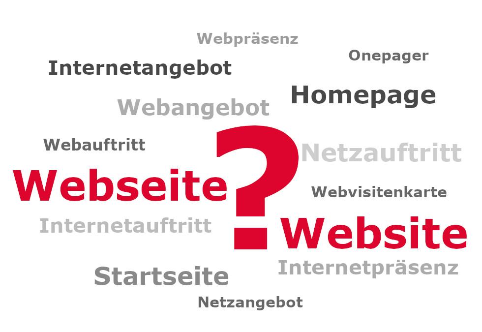 """Keyword-Cloud zum Begriff """"Webseite"""""""