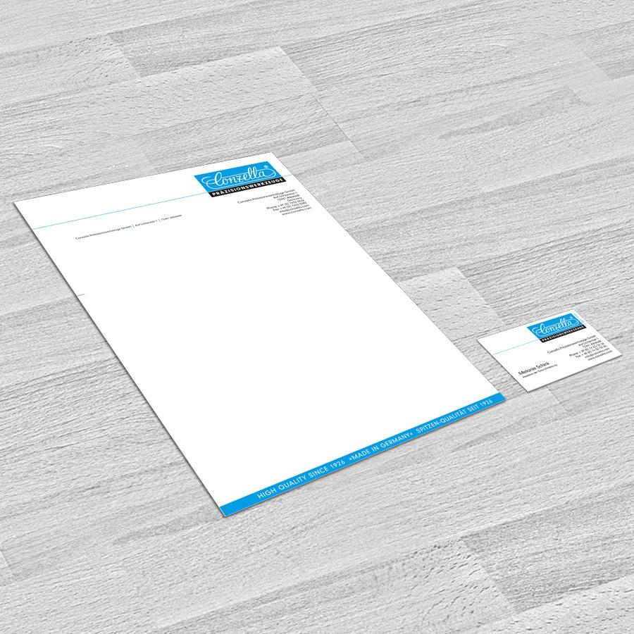Briefbogen und Visitenkarte Conzella