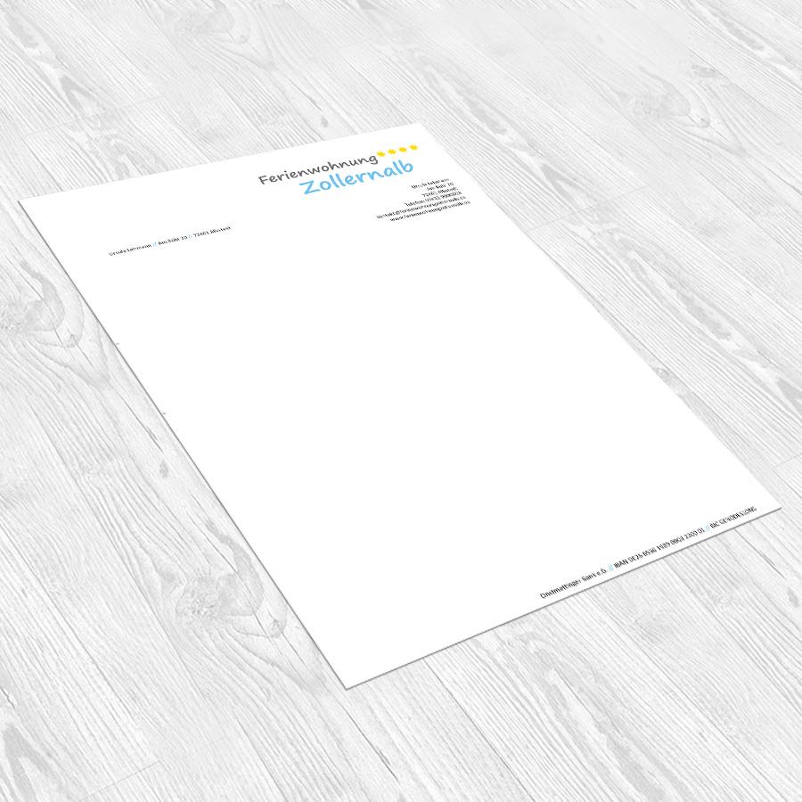 Briefbogen für die Ferienwohnung Zollernalb