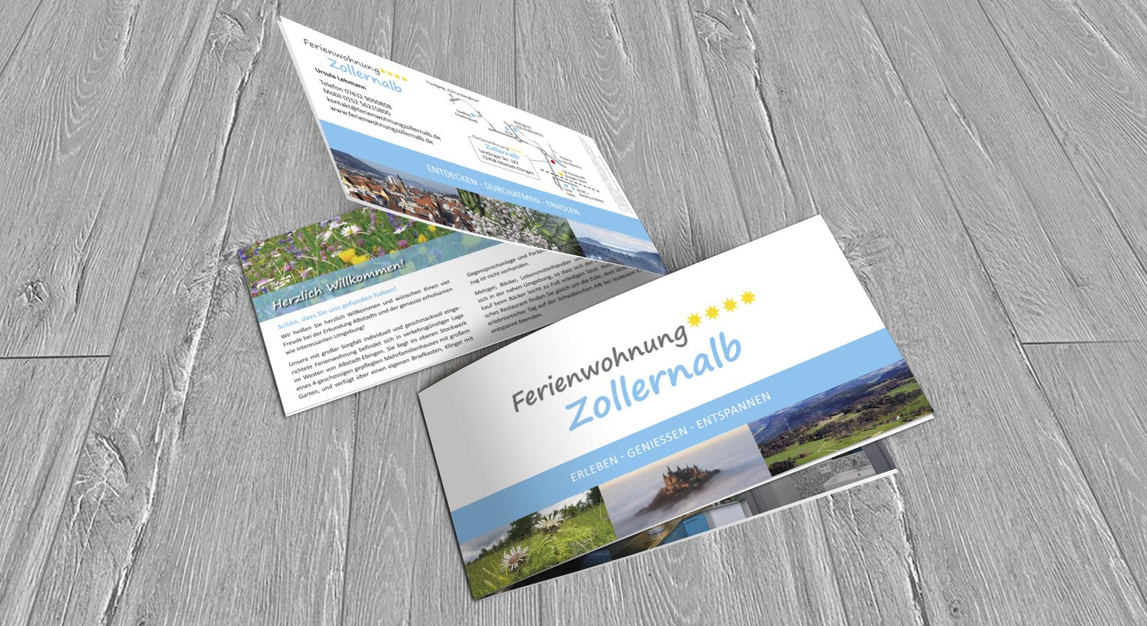 Ansicht der Broschüre für die Ferienwohnung Zollernalb