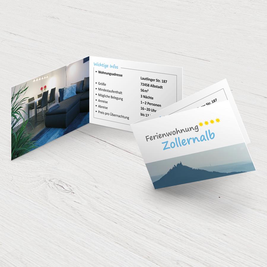 Visitenkarten für die Ferienwohnung Zollernalb