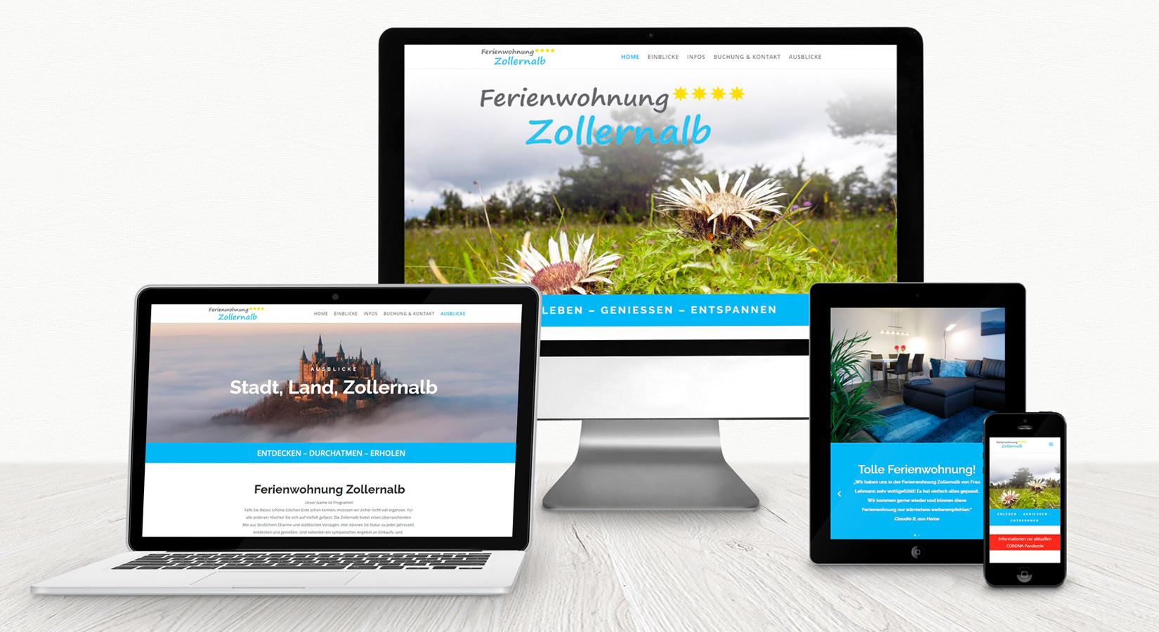 Anischt der Website ferienwohnungzollernalb.de auf verschiedenen Displays
