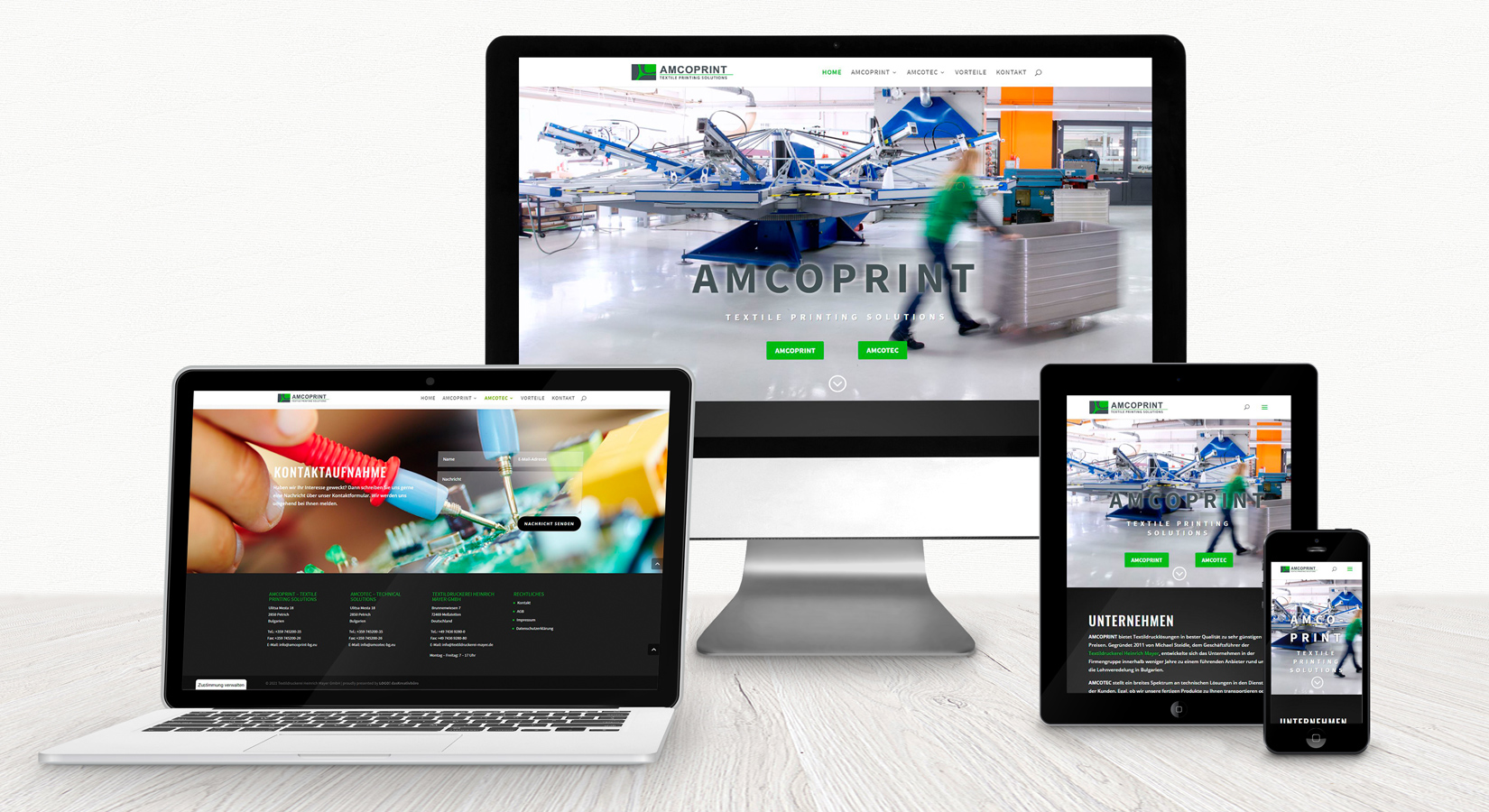 Website von AMCOPRINT auf verschiedenen Displays