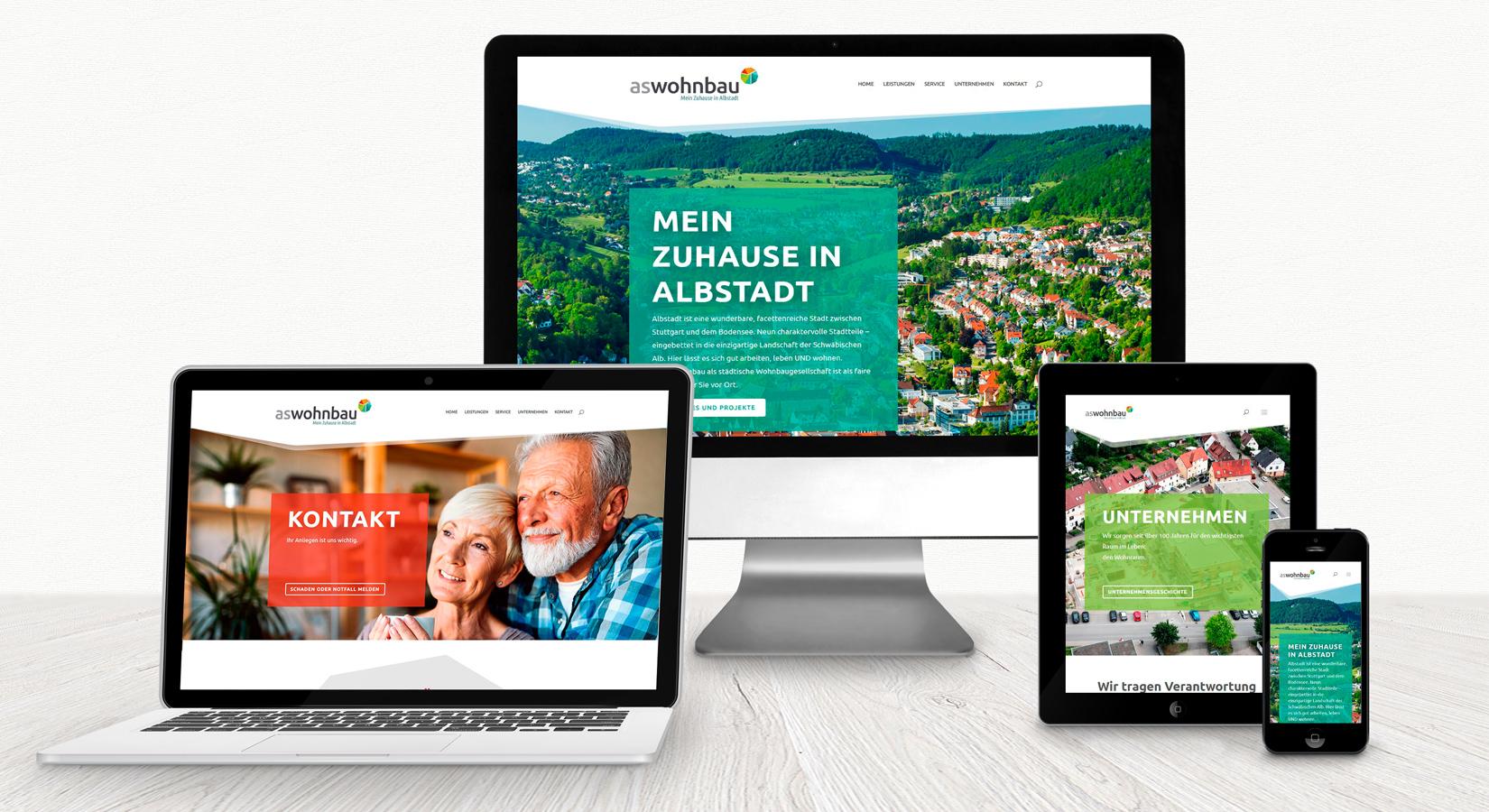 Website der aswohnbau auf verschiedenen Displays