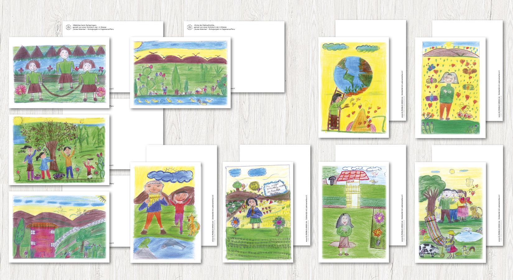Postkarten mit gezeichneten Motiven