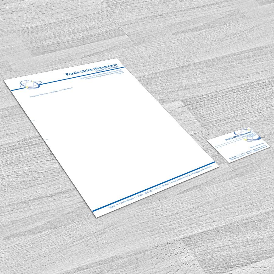 Briefbogen und Visitenkarte für Praxis Hannemann