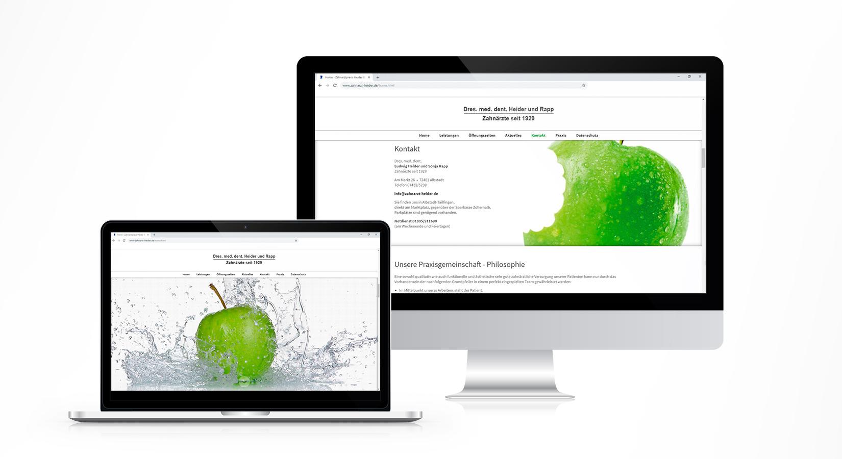 Website der Zahnarztpraxis Ludwig Heider