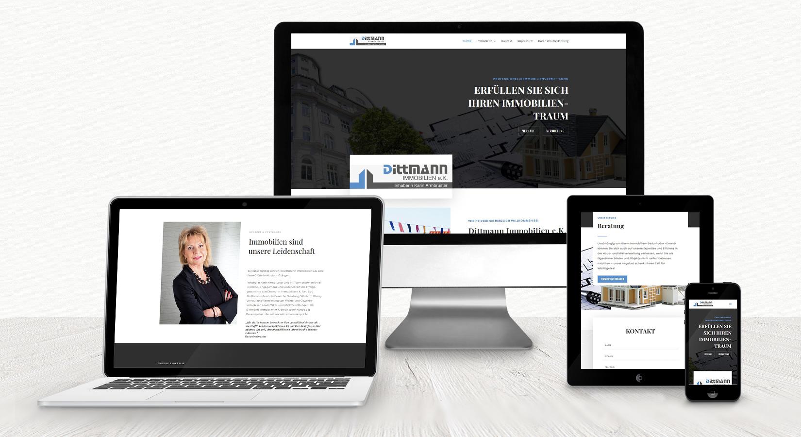 Website von Dittmann Immobilien auf verschiedenen Displays