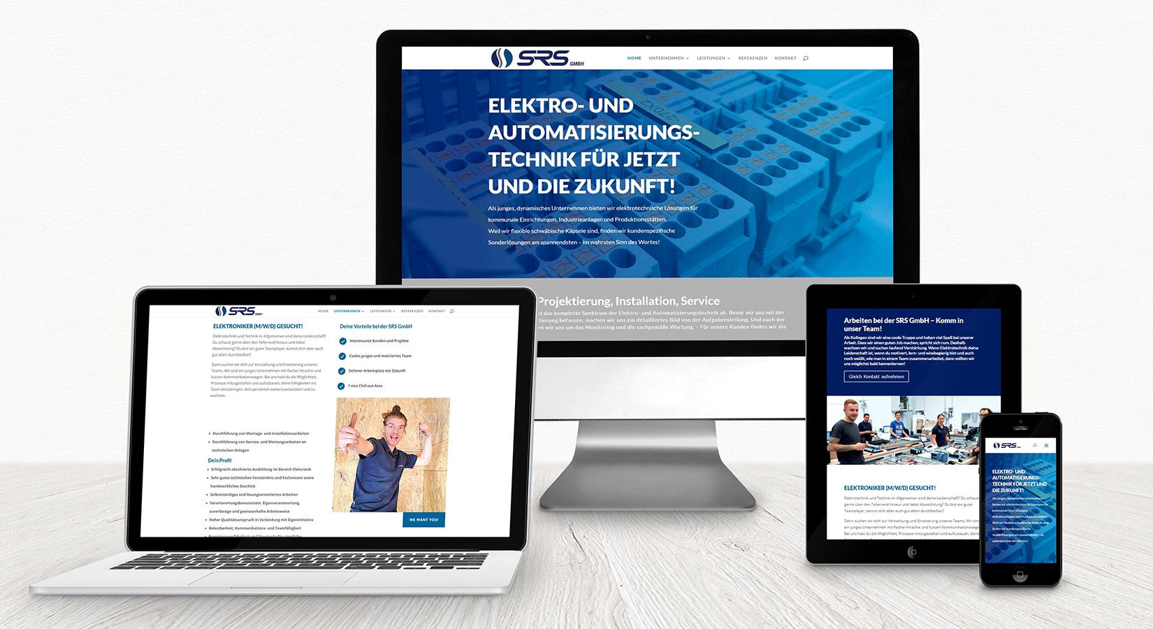 Website der SRS GmbH auf verschiedenen Displays