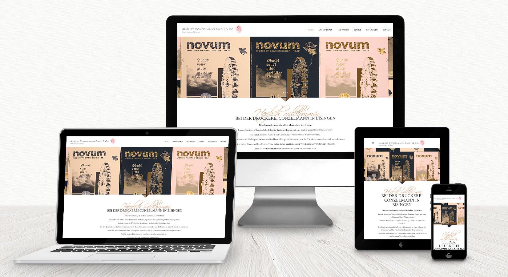 Website der Druckerei Conzelmann Bisingen auf verschiedenen Displays