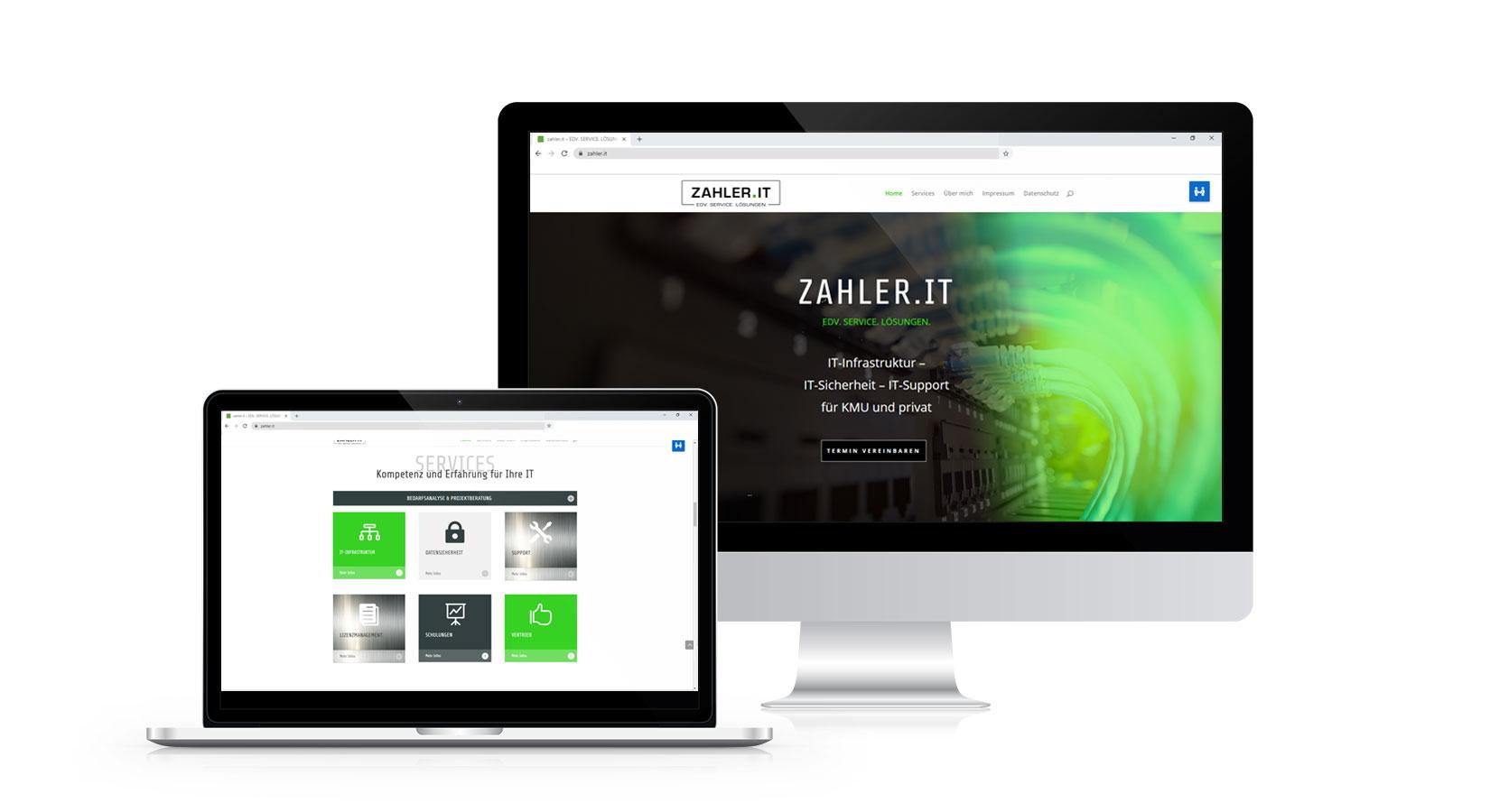 Website von ZAHLER.IT auf verschiedenen Displays
